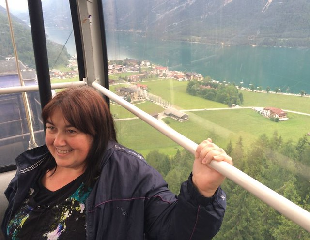 160620 Pertisau - Beth's first white-knuckle ride in a cable car
