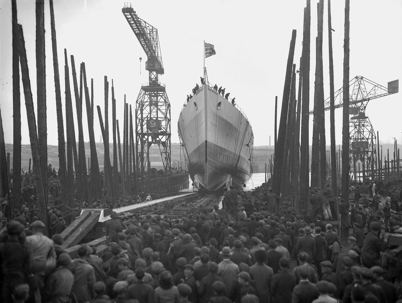 Launch of the cruiser HMS Uganda