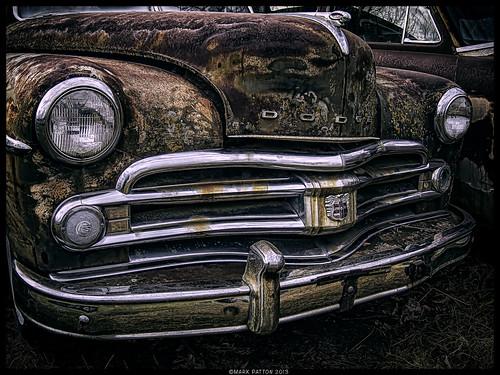 art car sedan emblem nikon rust automobile antique iowa grill ornament bumper dodge headlight ram newton ©markpatton p7700
