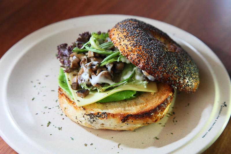 Grilled Mushroom Bagel