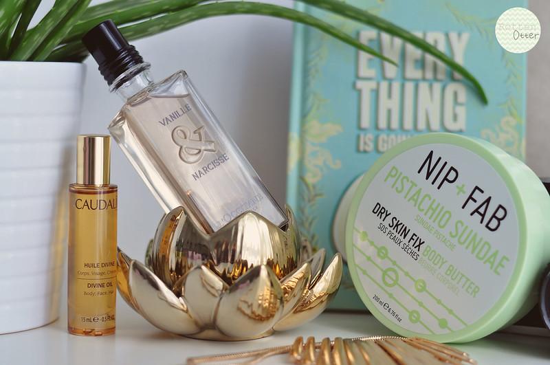 mini reviews 005 caudalie divine oil l'occitane vanille narcisse perfume nip + fab pistachio sundae body butter rottenotter rotten otter blog