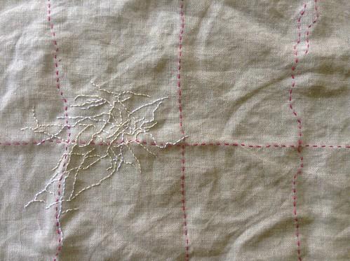 Wrinkle embroidery in progress