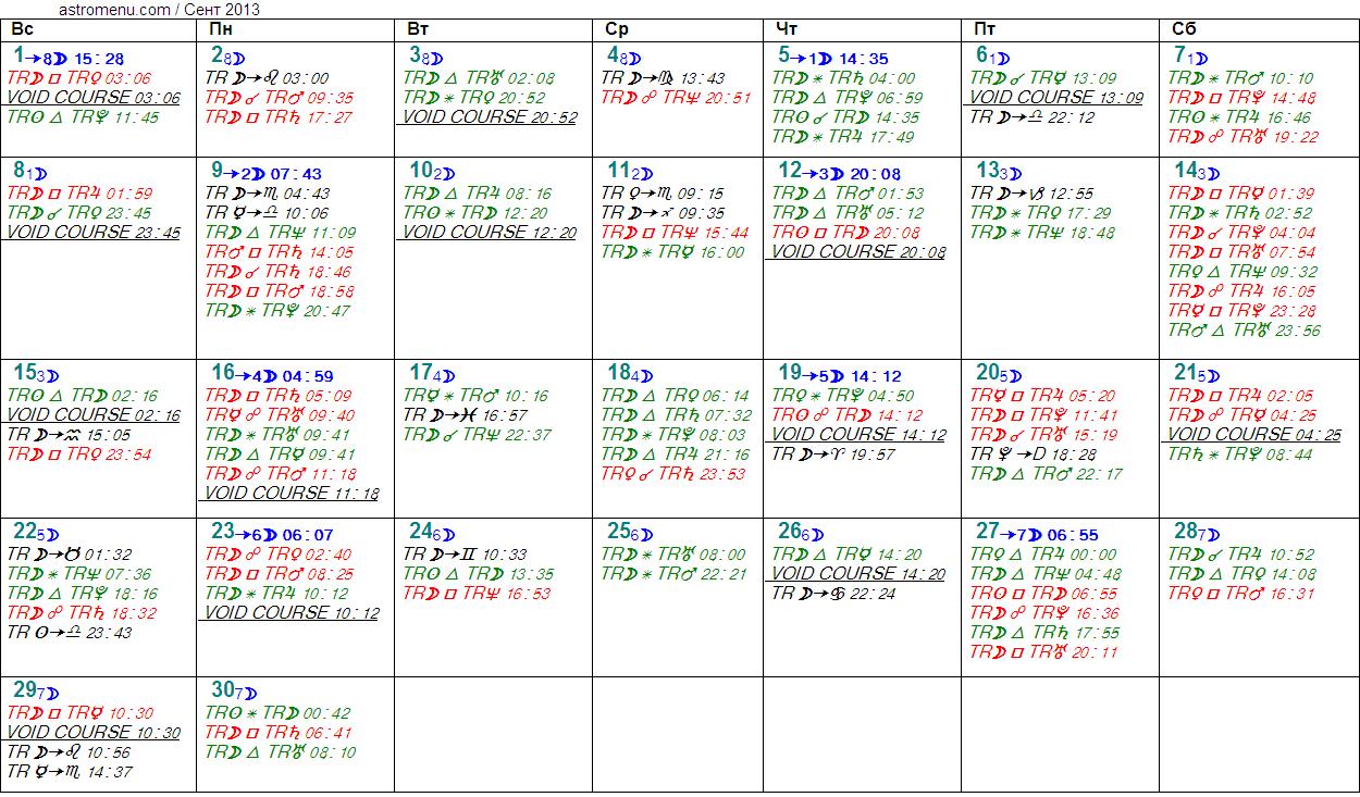 Астрологический календарь на СЕНТЯБРЬ 2013. Аспекты планет, ингрессии в знаки, фазы Луны и Луна без курса