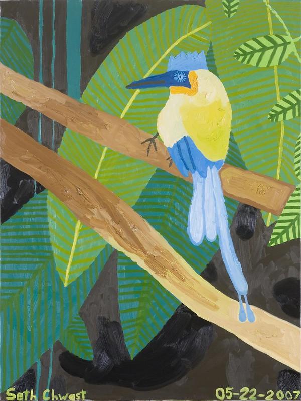 "Blue Headed Bird in the Rain Forest (48"" x 36"" oil on canvas)"