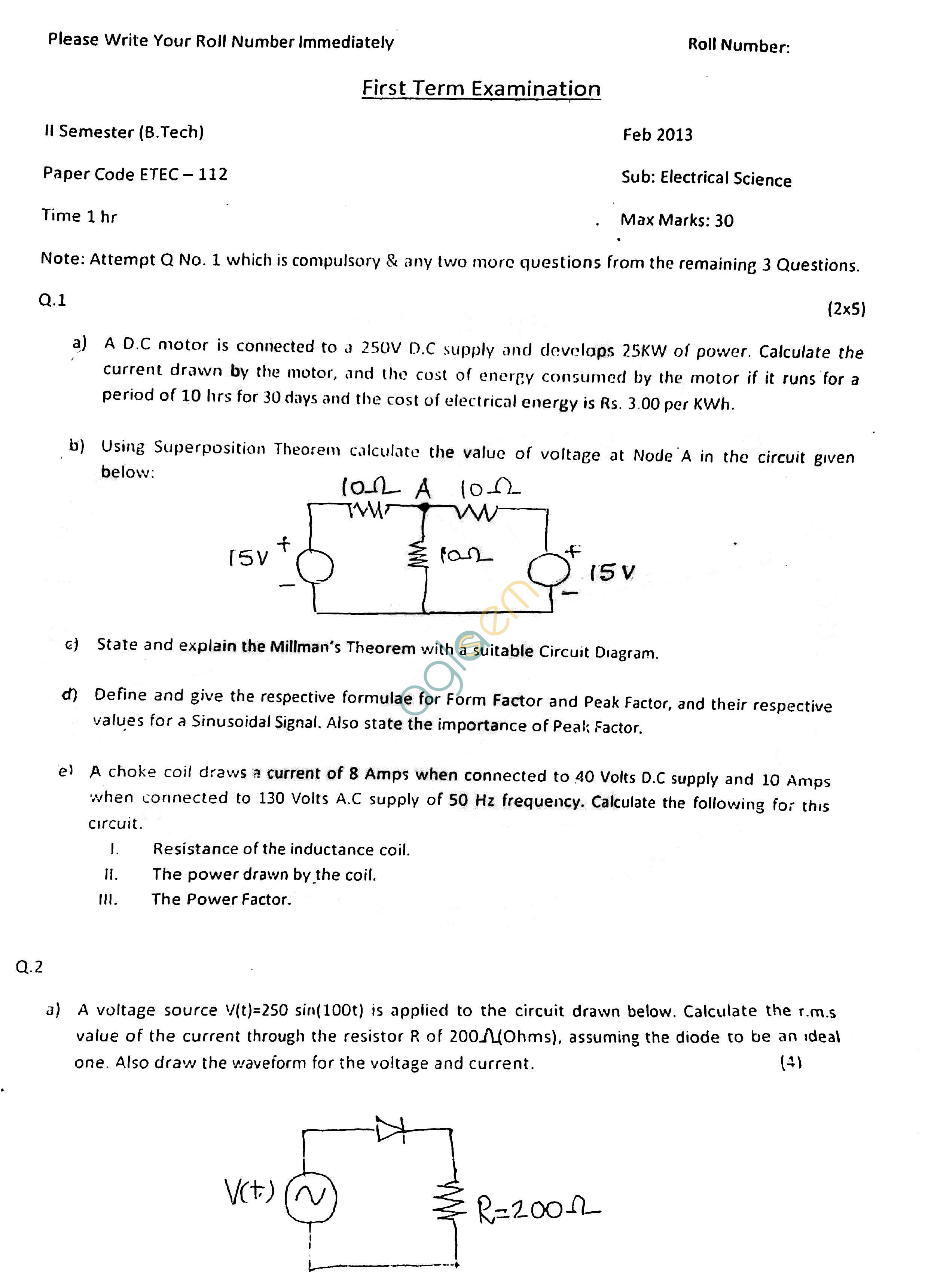 GGSIPU Question Papers Second Semester – First Term 2013 – ETEC-112