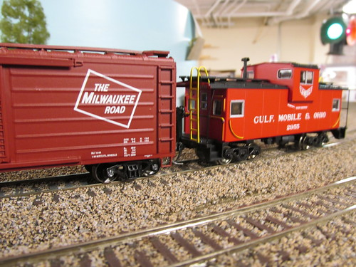 A Gulf, Mobile & Ohio Railroad wide vision caboose brings up the rear of the train. by Eddie from Chicago