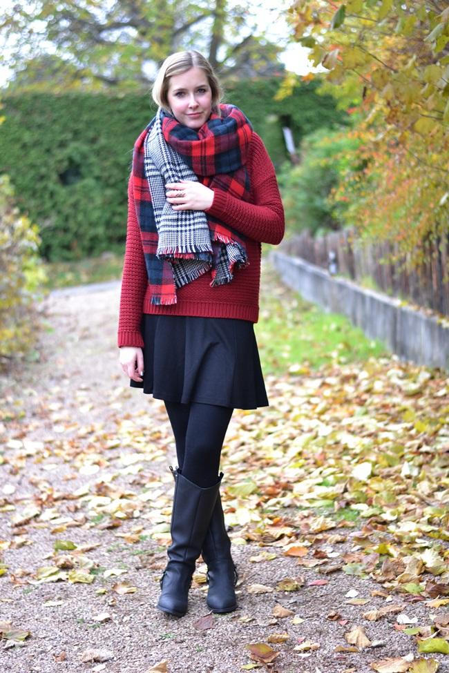Outfit Zaraschal rot weinrot (1)