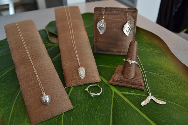 Blue Dot Jewelry features silver jewelry cast from organic matter, some of it found at BBG. Photo by Blanca Begert.