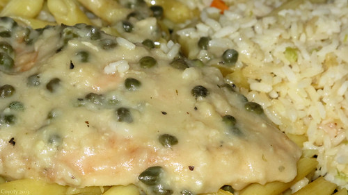 Chicken piccata with pasta and rice by Coyoty