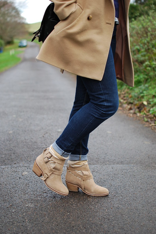 chambray and curls ankle boots and skinny jeans