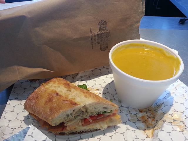Sweet potato soup and Roma sandwich - La Bistrote