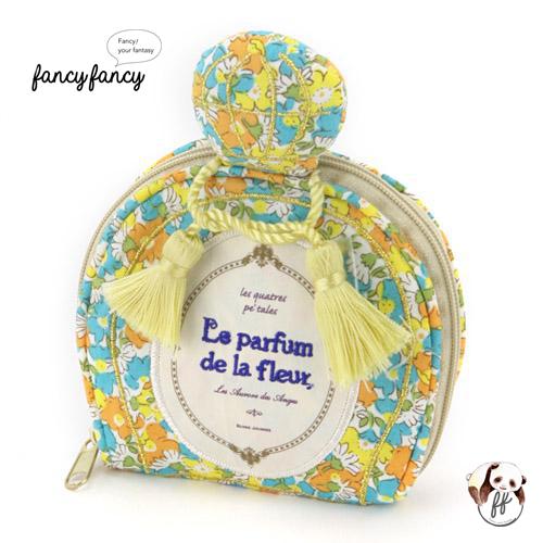 70.繽紛小花香水瓶造型隨身飾品袋-粉黃