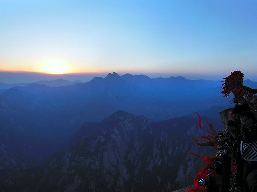 china blue sunrise asia wind hiking peak summit shaanxi valleys huashan fivegreatmountains