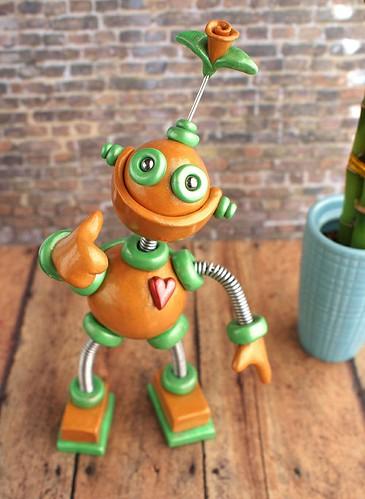 Patina Plexie Robot Sculpture by HerArtSheLoves