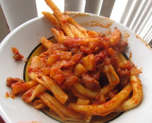 Chaurice/celeriac tomato sauce