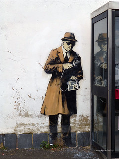 Banksy?? 'Spy Phone Booth' Cheltenham (Reflection)