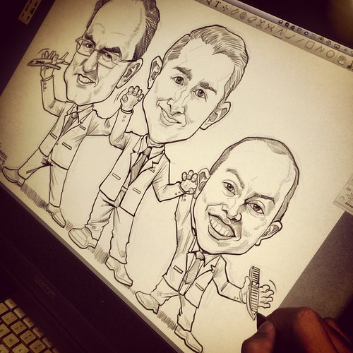 digital group caricature sketch for DHL