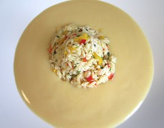 CAULIFLOWER SOUP WITH ORZO & SHRIMP SALAD