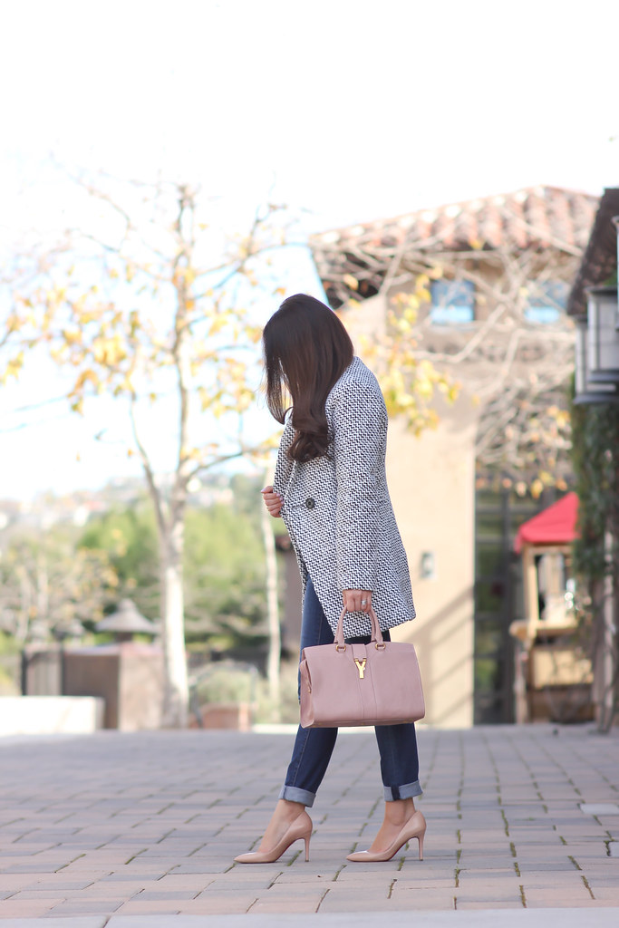 Chicwish double breasted tweed coat and blush