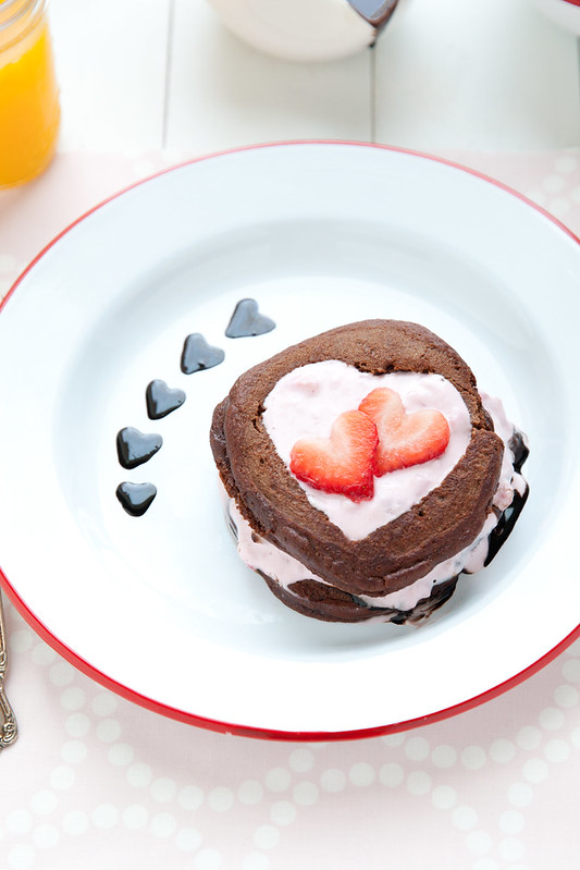 Chocolate Pancakes with Strawberry Yogurt