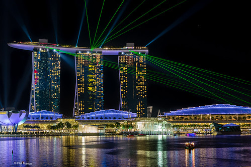 Laser show from Marina Bay Sands Hotel - Singapore