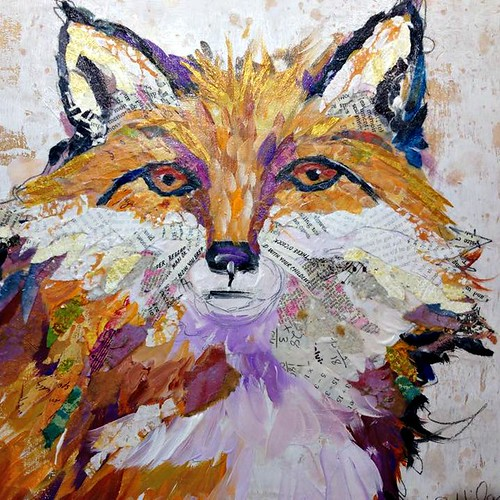 Fox Collage Painting by Elizabeth St. Hilaire Nelson