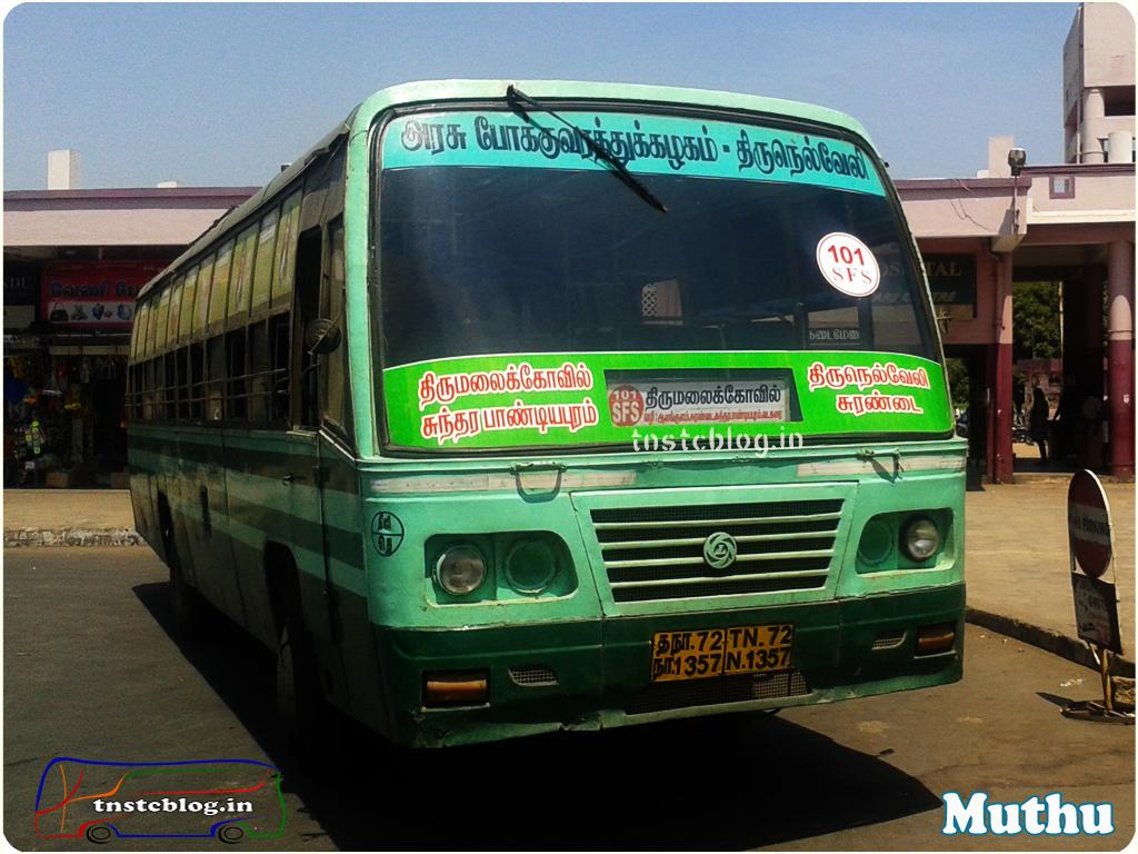 TN-72N-1357 of Tenkasi Depot Route 101 SFS Thirumalaikovil - Tirunelveli via Panpoli, Aiykudi, Sambavar Vadakarai, Sundarapandiyapuram, Surandai, Alangulam, M.S.University, Nellai Town.