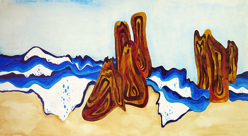 Watercolour painting of California waves and sandstone rock formations