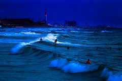 surfing in the evening - Tel-Aviv beach