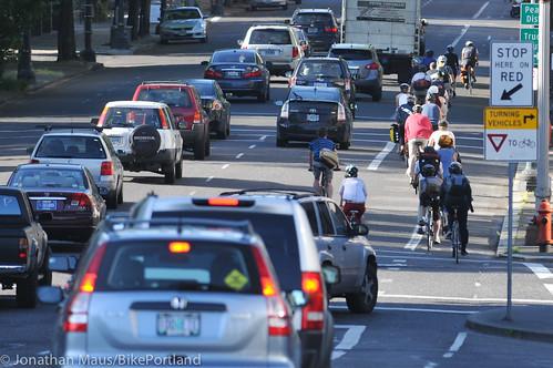 Bike traffic on NW Broadway-9