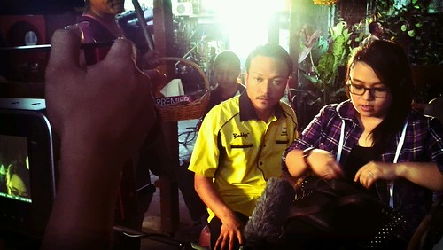 Co-stars Eliza Razak and Shaheizy Sam preparing for a shot
