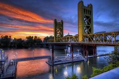 Sunset Glow, Tower Bridge, Sacramento CA (C63_1100-1108-LR-NS)