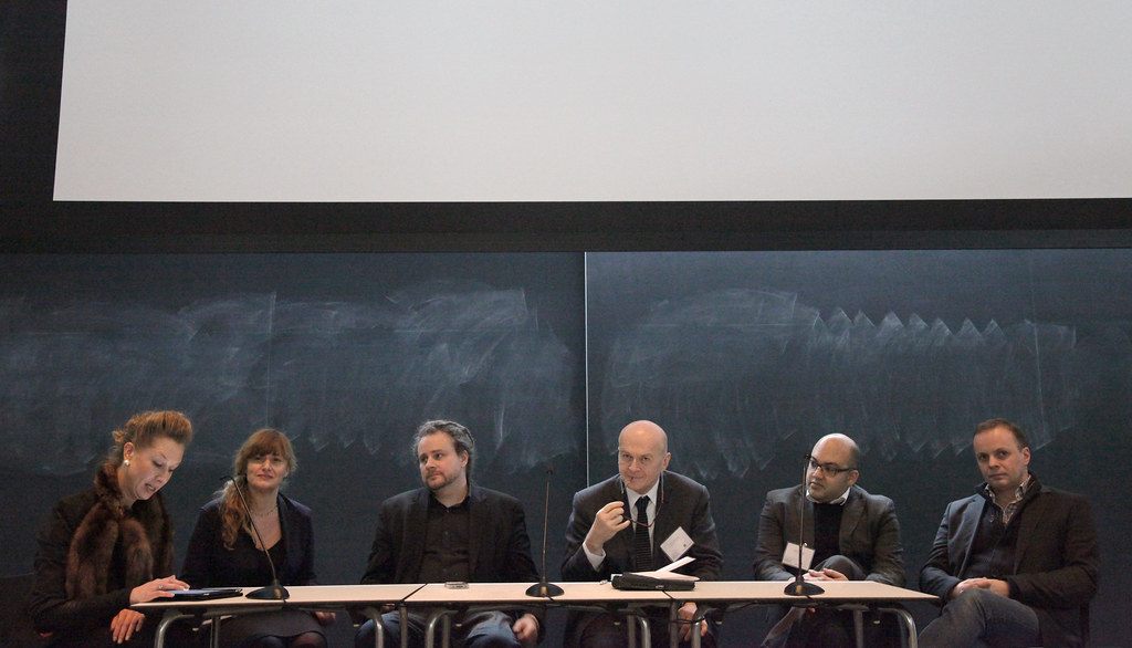 The panel discussion following session two. From left to right: moderator Liss Werner, Maria Aiolova, Mitchell Joachim, Phillip Beesley, Jeffery Turko, and Michael Hensel.