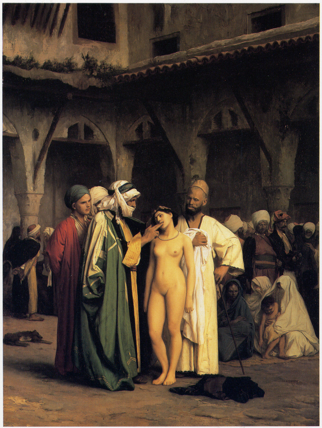 El mercado de esclavos. Jean-Léon Gérôme. Óleo sobre lienzo, 1866