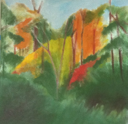 Red Leaves in the Woods (Oil Bar Painting as of June 1, 2013) by randubnick