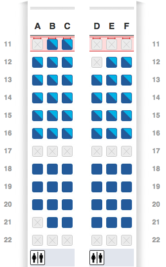 American Airlines inaugural A321-Transcon flight LAX to JFK Main Cabin