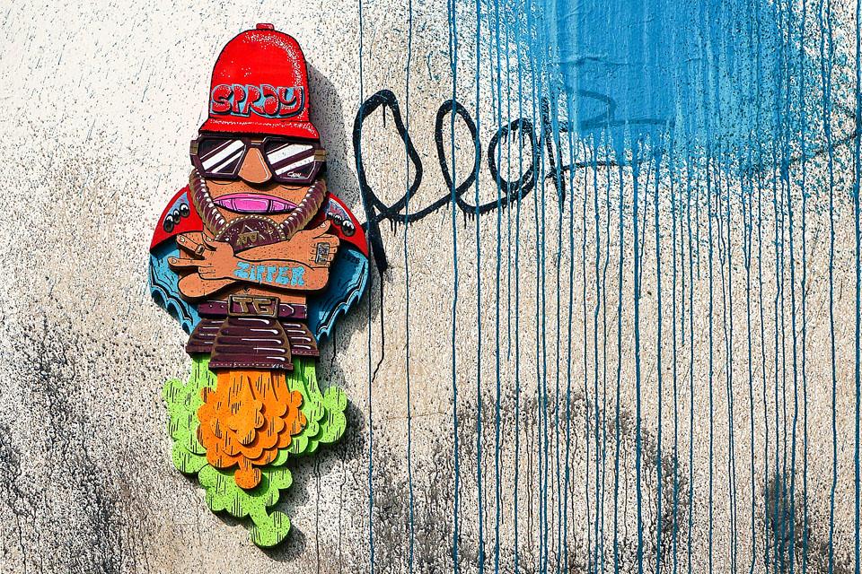 Street Art Zipper die Rakete