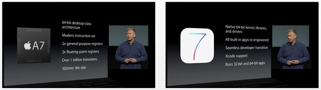 Benefits of the A7-based, 64-bit architecture introduced with the iPhone 5s