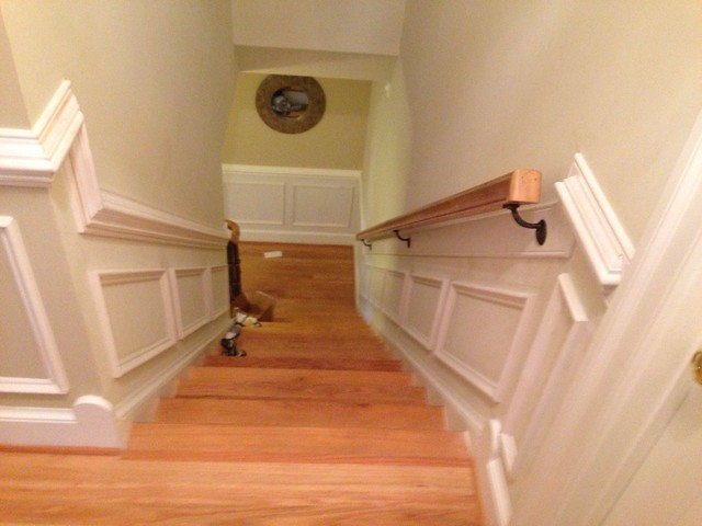 Shadow Box Wainscoting On Both Sides Of Staircase