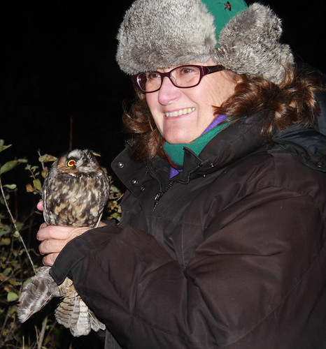 Laura and Long-eared Owl at Hawk Ridge: Photo by Lisa Johnson