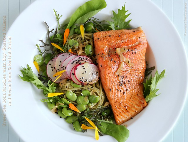 Green Tea Soba Noodles with Soy-Roasted Salmon and Broad Bean & Radish Salad 2