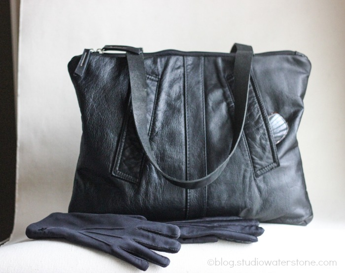 Black Leather Bomber Bag