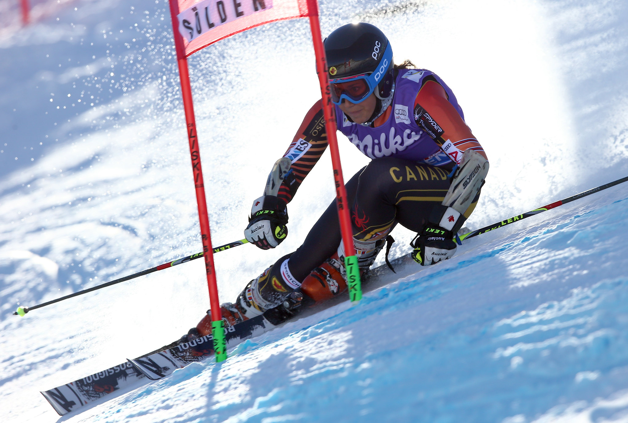 Prefontaine maneuvers a gate in the giant slalom at Solden, AUT