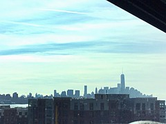 NYC skyline from bus
