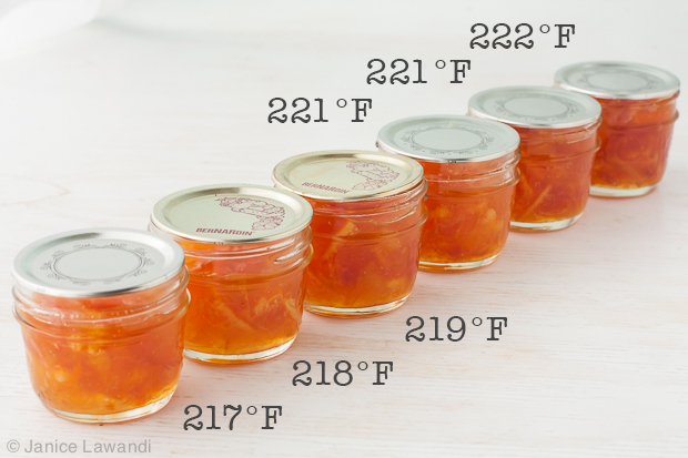 jars of marmalade cooked to different temperatures | kitchen heals soul