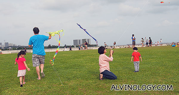 There were many other parents flying kites with their kids other than us