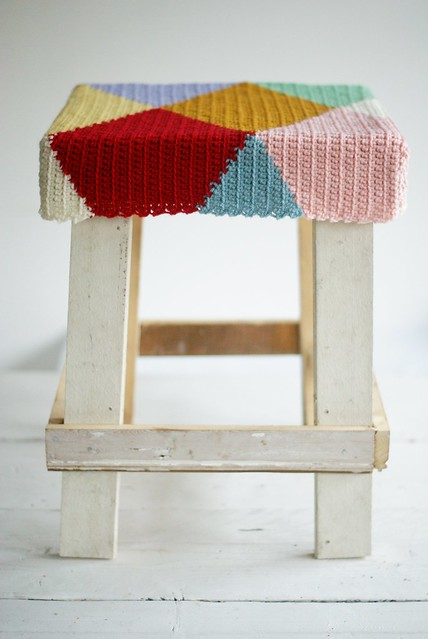 wood & wool harlequin stool