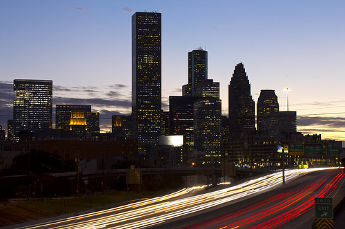city longexposure nightphotography sunset sky urban color cars colors night clouds evening downtown texas skyscrapers nightshot traffic dusk tx cities houston freeway autos expressway i10 automobiles houstontx downtownhouston katyfreeway canoneos60d thehaif swamplot