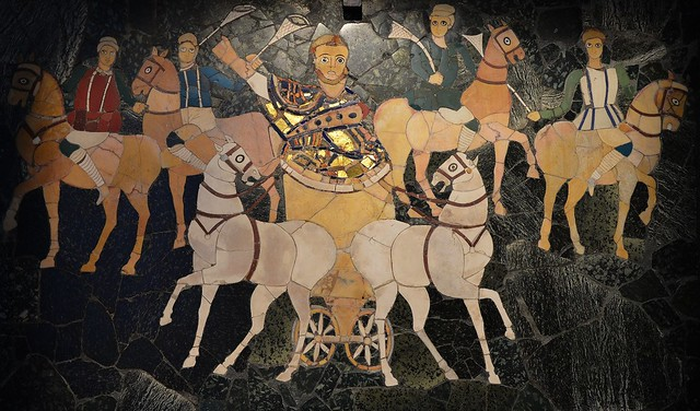 Junius Bassus on a biga (two-horse chariot) followed by four horsemen representing the factions of the circus, opus sectile panel from the basilica of Junius Bassus on the Esquiline Hill, 4th century AD, Palazzo Massimo alle Terme, Rome