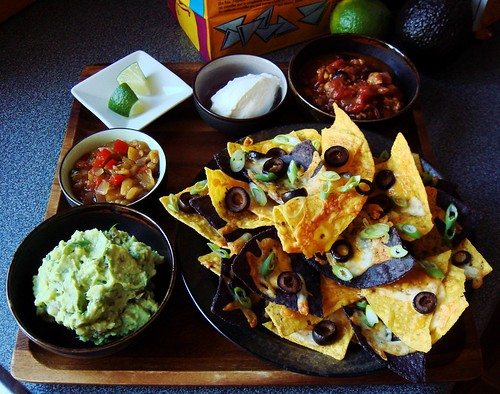 Game Day Nachos with Turkey Chili , Guacamole, Peach Salsa